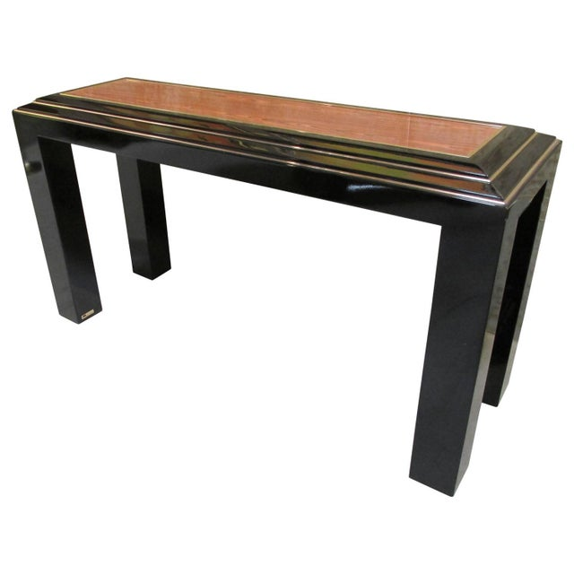 Rougier Regency Style Black Lacquer Console Table - Image 1 of 8