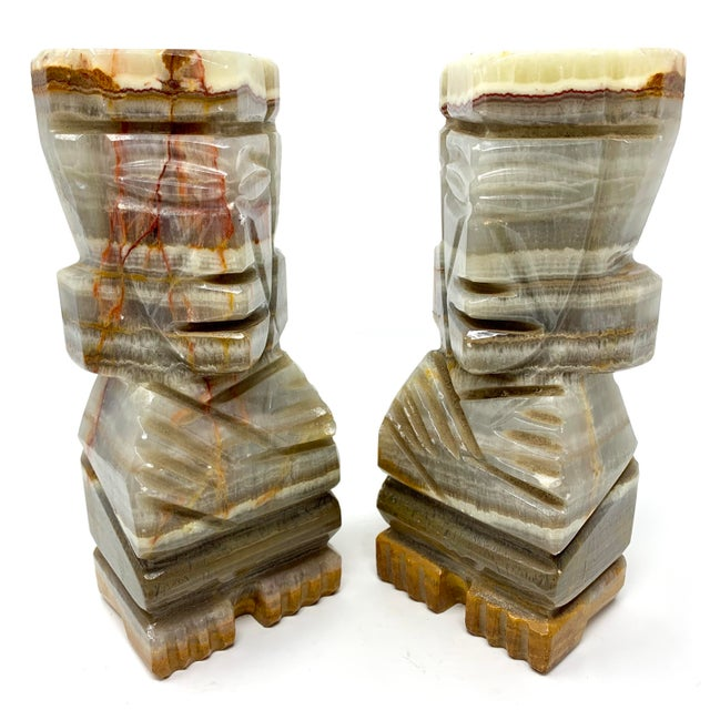 Mid 20th Century Mid-Century Carved Stone Tiki Bookends - a Pair For Sale - Image 5 of 12