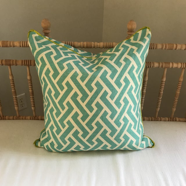 Contemporary Quadrille China Seas Aga Aqua Pillow For Sale - Image 3 of 6