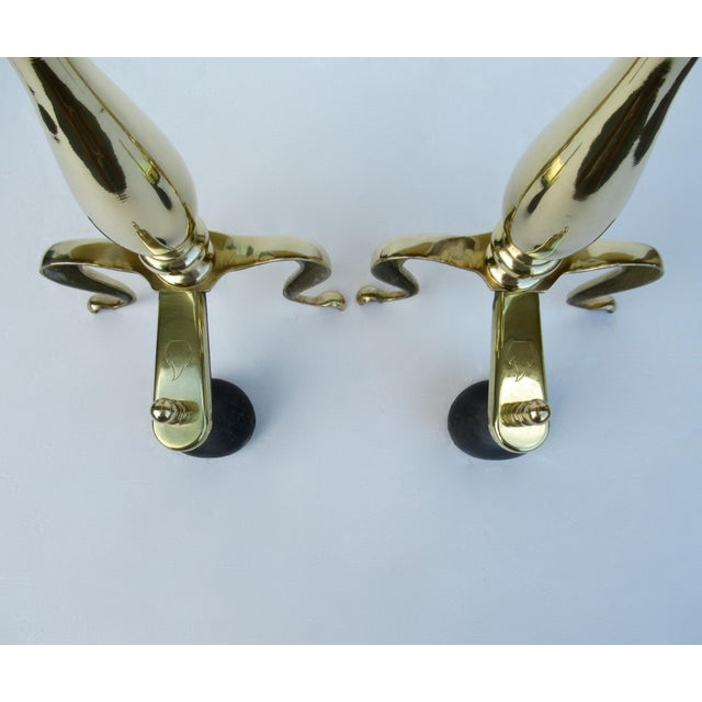 C1970s Vintage American Regency Brass Claw-Footed Andirons - a Pair For Sale - Image 9 of 13