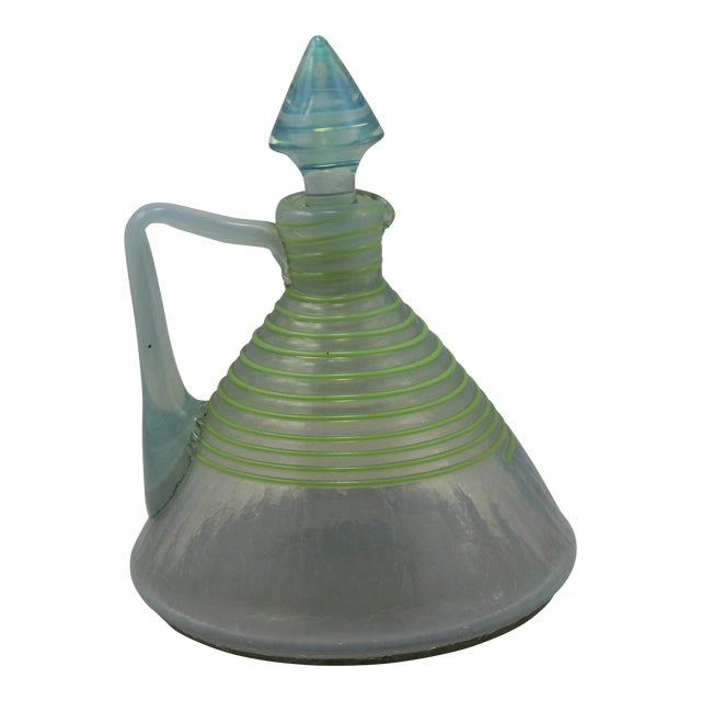 Art Deco Era Frederick Carder's Steuben Opalescent Threaded Art Glass Decanter For Sale