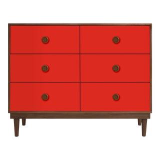 Nico & Yeye Lukka Modern Kids 6 Drawer Dresser Walnut Red For Sale