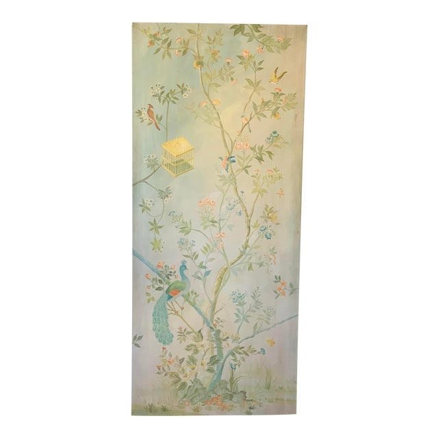 Chinoiserie Birds on Vintage Painted Canvas Panel For Sale