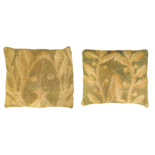 """Antique Art Deco European Savonnerie Carpet Pillows With Floral Design, and With Striped Gold Velvet Backing, 22"""" X 18""""/ 24"""" X 20"""" - a Pair For Sale"""