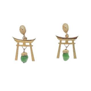 1960s Napier Pagoda Faux-Jade Rhinestone Drop Earrings For Sale
