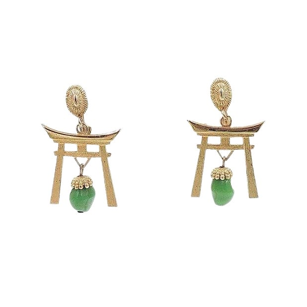 1960s Napier Pagoda Faux Jade Rhinestone Drop Earrings