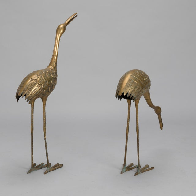 Pair Mid Century Tall Brass Crane Statues For Sale - Image 4 of 10