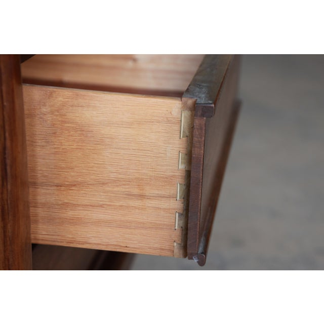 United Mid-Century Sculpted Front Walnut Nightstand - Image 6 of 6