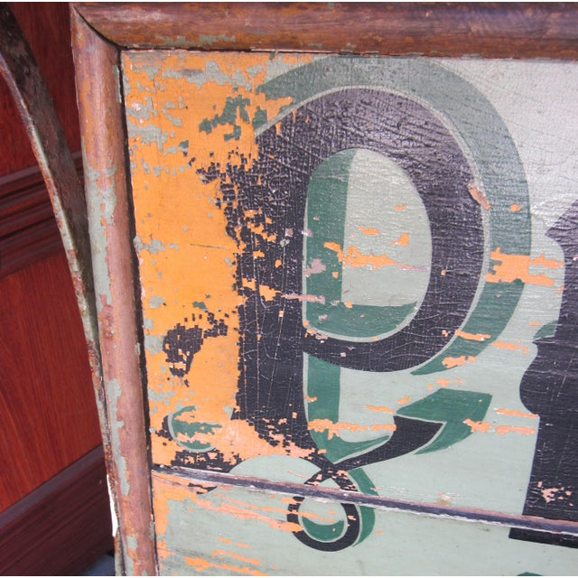 "1920s Classic French Art Deco Sage Green Painted 2-Sided ""Photos D'Art"" Shop Sign For Sale - Image 4 of 13"