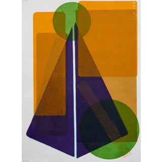 Wyona Diskin, Blue Squares with Orange Circle circa 1987 For Sale