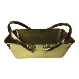 Italian Mid Century Hand Hammered Brass Basket For Sale