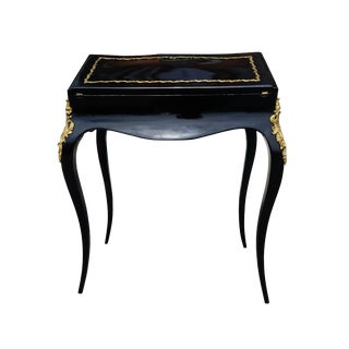 19th Century French Louis XV Black Lacquer Secreatary Desk For Sale