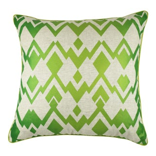 Green Deco Diamond Linen Pillow