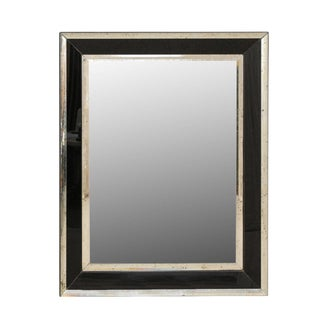 Vintage Rectangular Wall Mirror With Black and Antiqued Glass Border