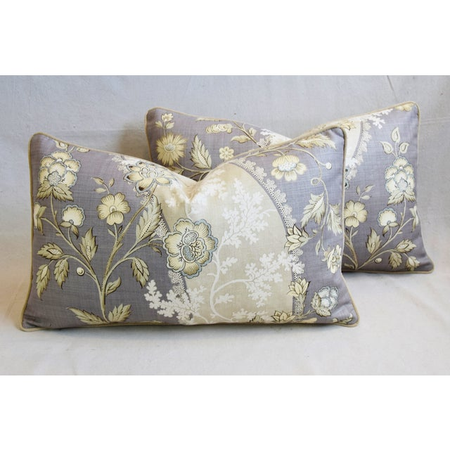 "Floral Linen & Velvet Feather/Down Pillows 26"" X 16"" - Pair For Sale - Image 12 of 12"