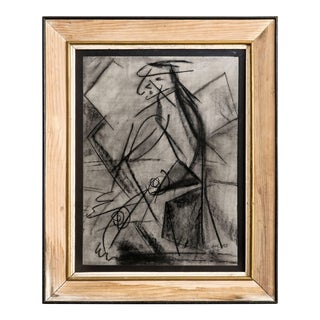 1945 Vintage Cahlas Charcoal Figural Drawing For Sale