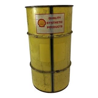 Vintage Industrial Yellow Metal Oil Barrel For Sale