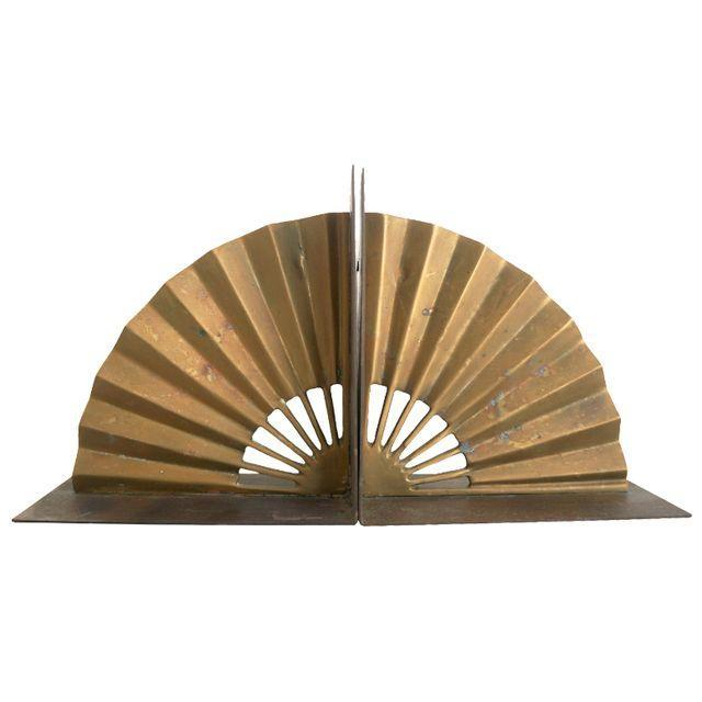 Brass Fan Bookends - Pair - Image 1 of 4