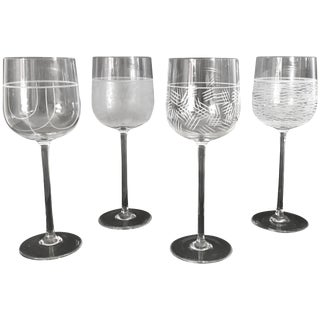 Italian Murano Wine Glasses by Salviati - Set of 4 Final Clearance Sale For Sale