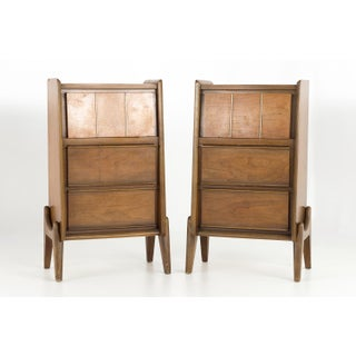 1960s Mid-Century Modern United Walnut Tall Nightstands - a Pair Preview