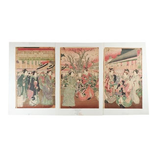 1881 Japanese Woodblock Triptych For Sale