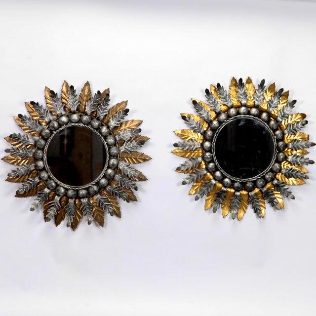 Mid Century Spanish Gilt and Silver Metal Sunburst Mirrors - A Pair - Image 2 of 9