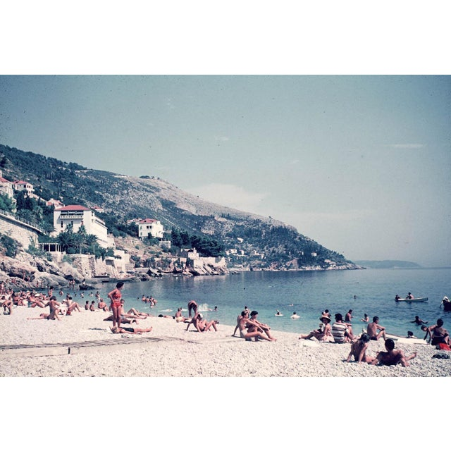 Vintage 1960s European Beach Photograph Print For Sale