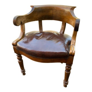 1900s Vintage Tufted Leather Mahogany Captain Chair For Sale