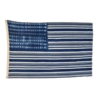 "Boho Chic Indigo Blue & White Flag From African Textiles 58"" X 39"""