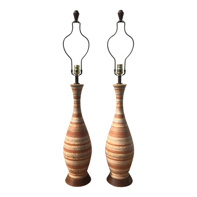 1960s Mid-Century Modern Tall Striped Pottery Table Lamps - a Pair For Sale