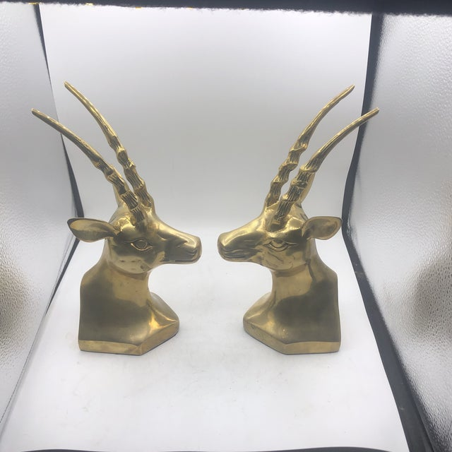 Brass Antelope Bookends - a Pair For Sale In Miami - Image 6 of 11
