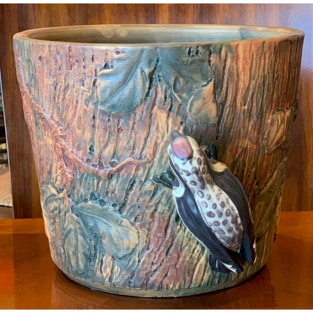 Weller Pottery Weller Woodcraft Baldin Jardiniere With Woodpecker For Sale - Image 4 of 11