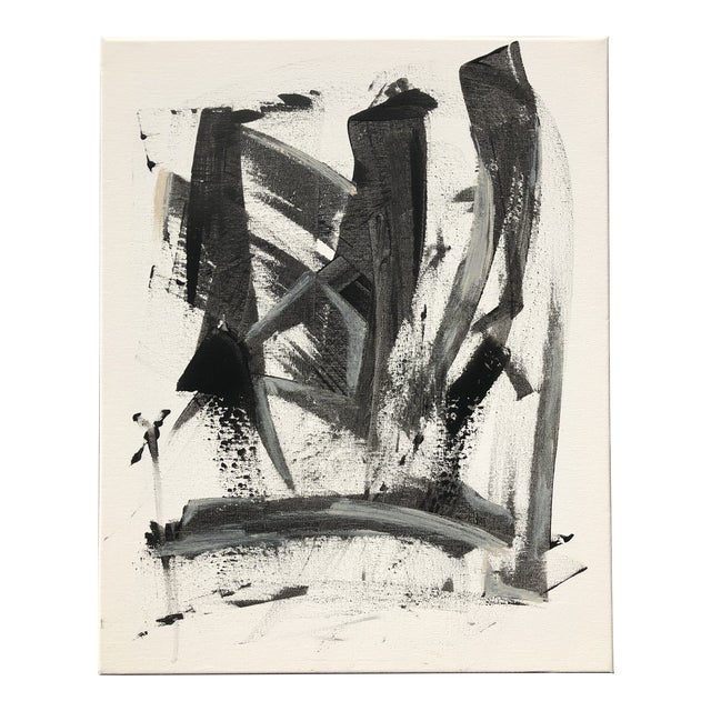 Black and White Abstract Painting on Canvas For Sale