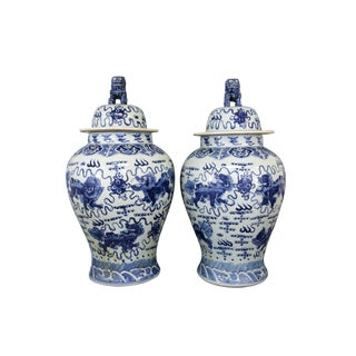 Blue & White Ginger Jars With Foo Dog Lids - A Pair For Sale