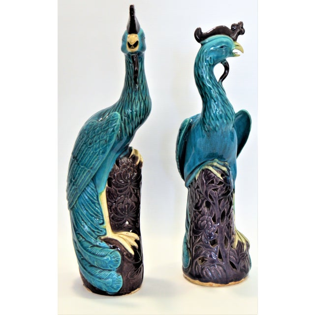 Extra Large Antique 1940s Chinese Porcelain Phoenix Bird Figurines - a Pair-Oriental Sculpture Asian Mid Century Modern Palm Beach Tropical Parrots For Sale - Image 12 of 13