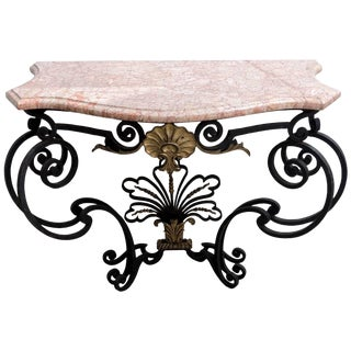 Gilt Natural Wrought Iron Console With a Marble Top For Sale