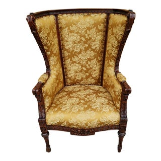 Antique Victorian Carved Mahogany Chinoiserie Upholstered High Wingback Chair For Sale