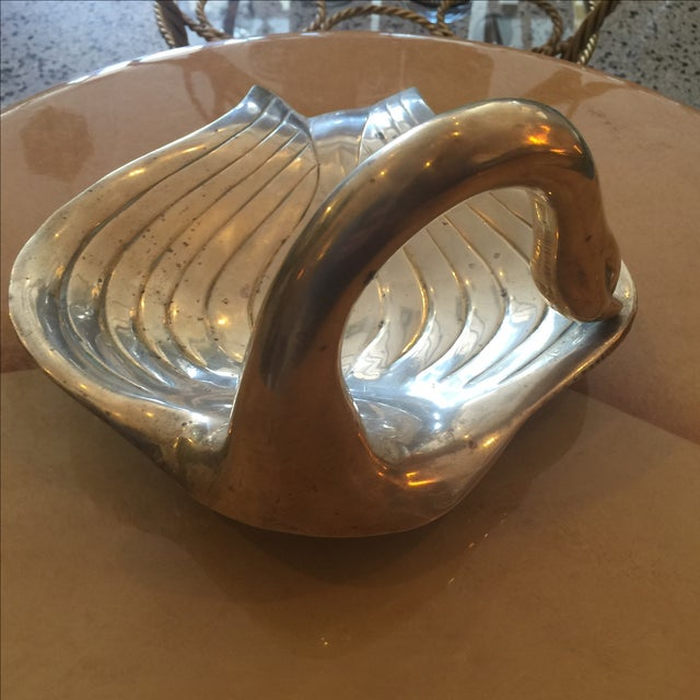 Mid-Century Brass Swan Dish For Sale - Image 4 of 4