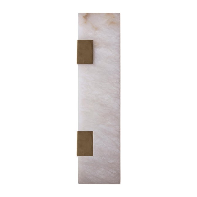 Modern Contemporary 003-2c Sconce in Brushed Brass and Alabaster by Orphan Work For Sale