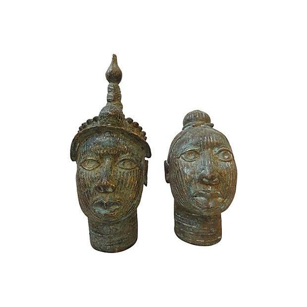African King & Queen Benin Bronze Heads - Image 2 of 7