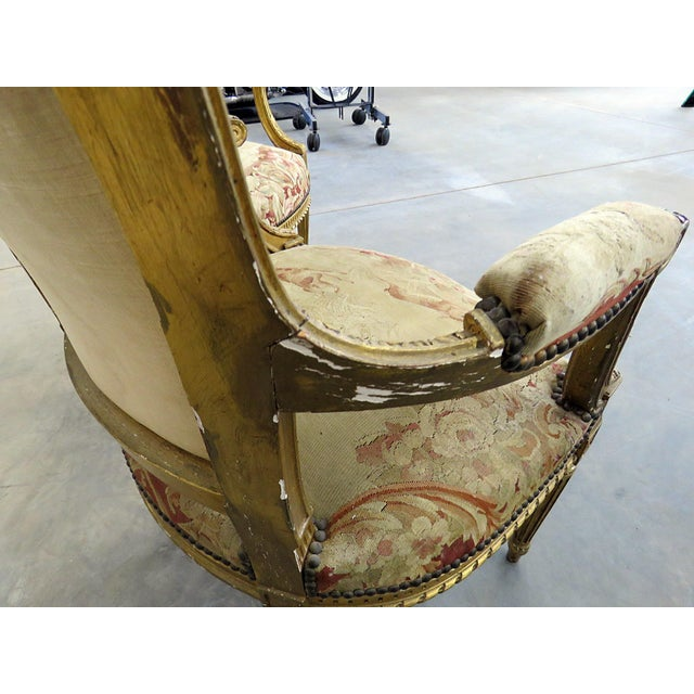 Pair of French Louis XVI Style Needlepoint Fauteuils For Sale - Image 9 of 11