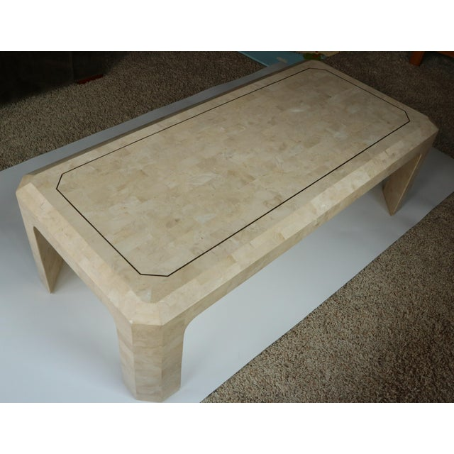 Contemporary Maitland-Smith Style Tessellated Coral Stone Coffee Table For Sale - Image 3 of 9