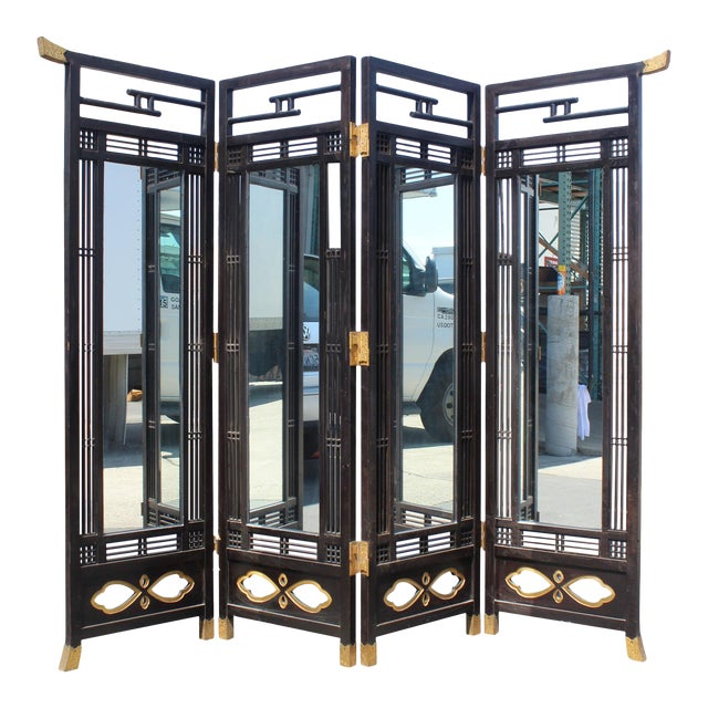 Japanese Meiji Period Mirrored Screen For Sale