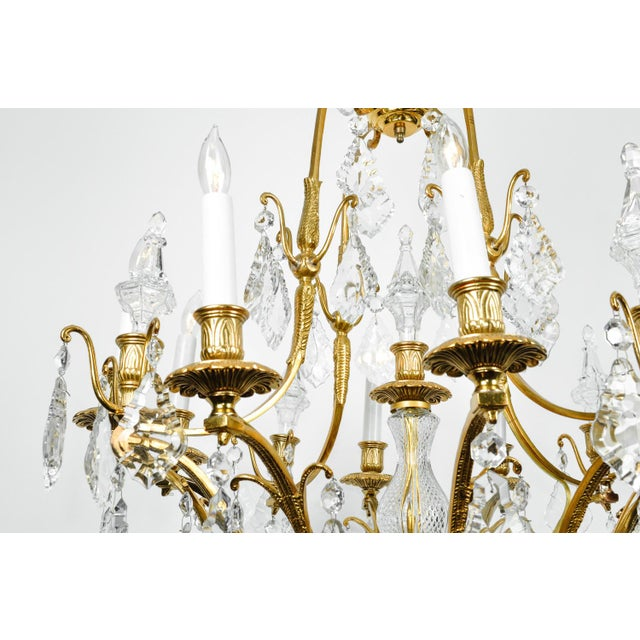 1920s Antique French Cut Crystal Eight Arm Chandelier For Sale - Image 10 of 11