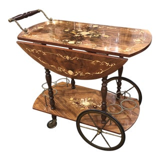 20th Century Italian Marquetry Tea or Wine Trolley For Sale