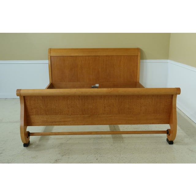 1990s Baker King Size Satinwood Neoclassical Sleigh Bed For Sale - Image 11 of 11