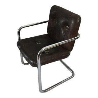 Vintage Chromcraft Cantilever Faux Leather Chair For Sale