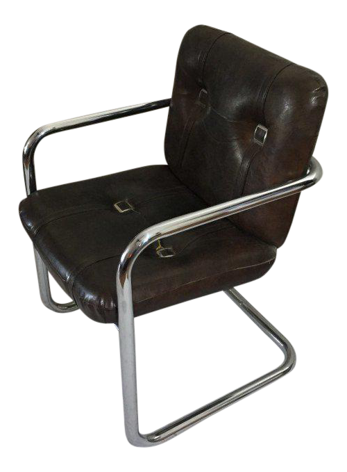 Vintage Chromcraft Cantilever Faux Leather Chair   Image 1 Of 6