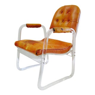 20th Century Minimalist Lucite and Leather Club Chair