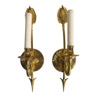 20th Century Traditional Bronze Arrow Wall Sconces - a Pair For Sale